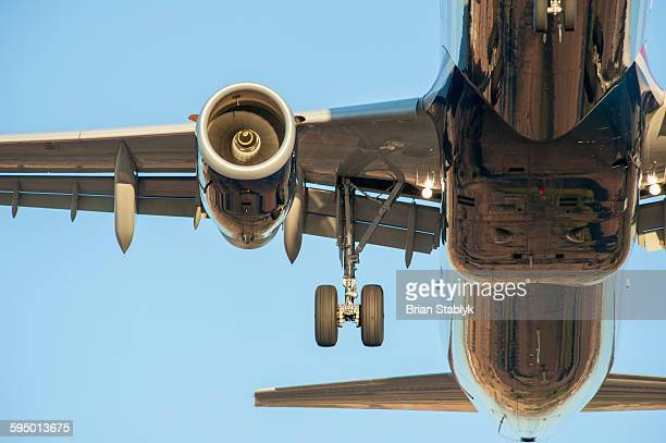 Landing gear of aircraft, close up