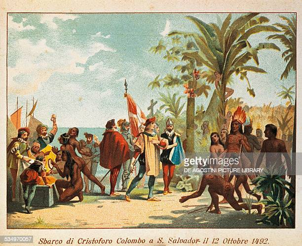 Landing of Christopher Columbus at San Salvador on October 12 19thcentury illustration Milan Biblioteca Ambrosiana