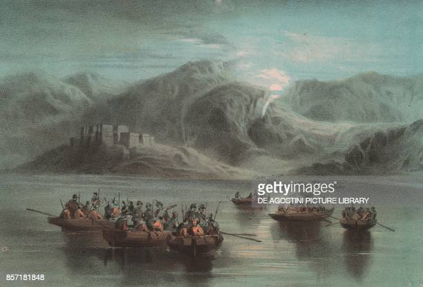 Landing of Garibaldi's men at Capo dell'Armi Calabria Expedition of the Thousand lithograph by Carlo Perrin from the drawing by Carlo Bossoli 22x15...