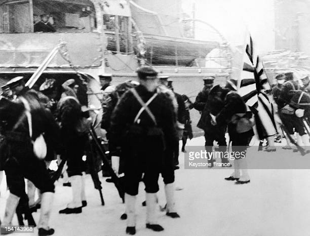 Landing of sailors from a cruiser to take up police duties during the coup d'etat organized by ultra nationalist faction of the Japanese Imperial...