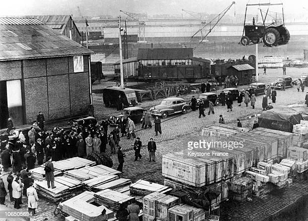 Landing Of ss CapeRace At The Le Havre Harbour Supervised By Pflimlin Minister Of Agriculture And David K Bruce Chief Of The Special Mission Of...