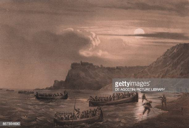 Landing of the first fleet of Garibaldi's men at Fort Scilla Calabria Expedition of the Thousand lithograph by Carlo Perrin from the drawing by Carlo...