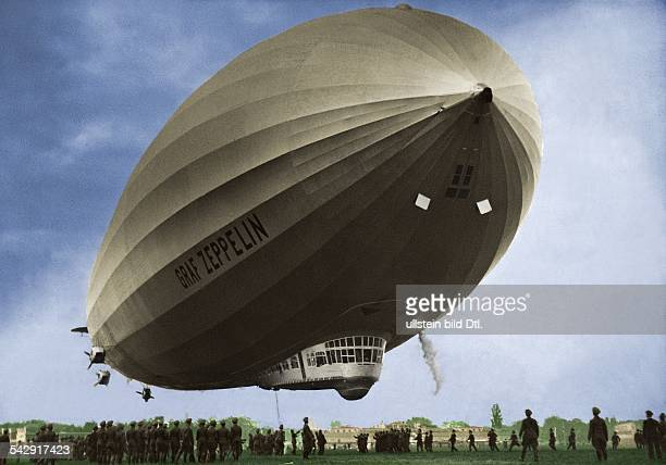 Landing of the German airship 'Graf Zeppelin' undated colored version of Image Number 00477834