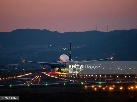Landing on Osaka International Airport : Stock Photo