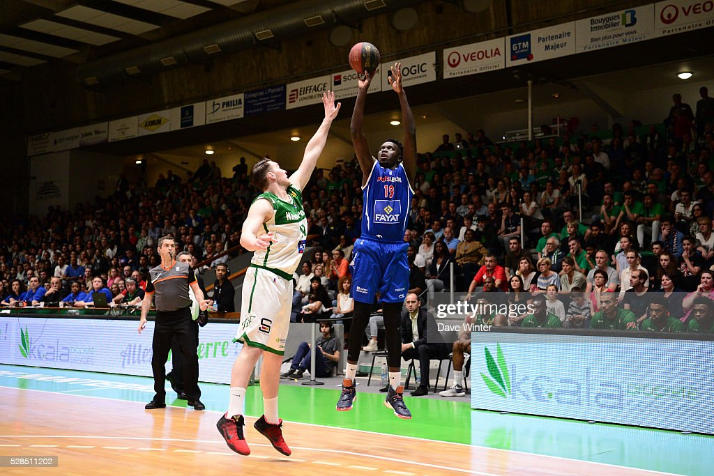 Landing Sane of Paris Levallois and Hugo Invernizzi of Nanterre during the basketball French Pro A League match between Nanterre and Paris Levallois on May 5, 2016 in Nanterre, France.