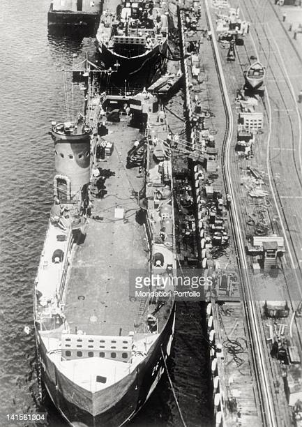 A Landing Ship Tank is completed in a shipyard United States October 14 1944