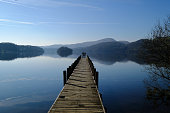 wooden jetty on mirror calm lake