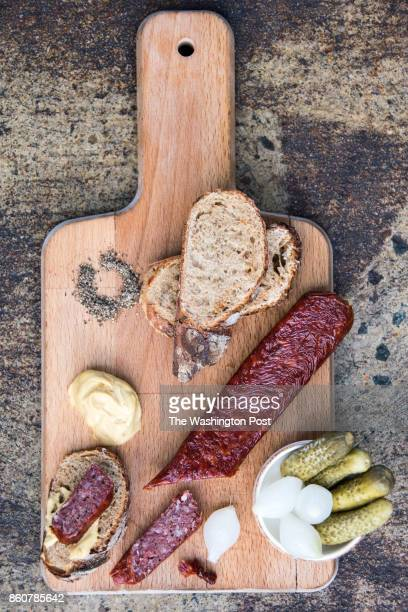 Landjäger Cured and Smoked Swiss Style Salami Mustard Pickles at Stable