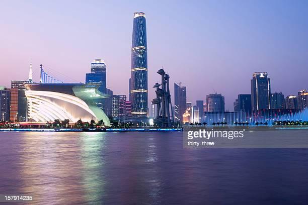 landmark in Guangzhou at night