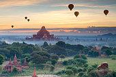 Beautiful sunset scene of Ancient Pagoda in Bagan , Myanmar