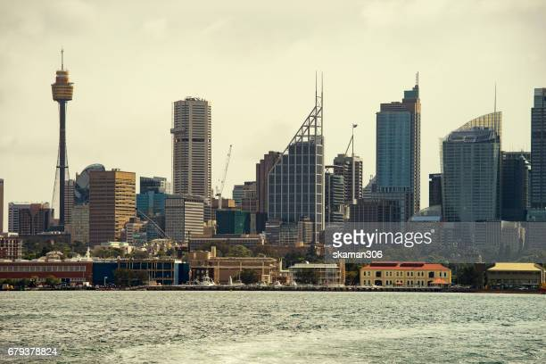 landmark of Sydney with Sydney harbor bridge day and night series and ferry and building city near the rocks area sydney