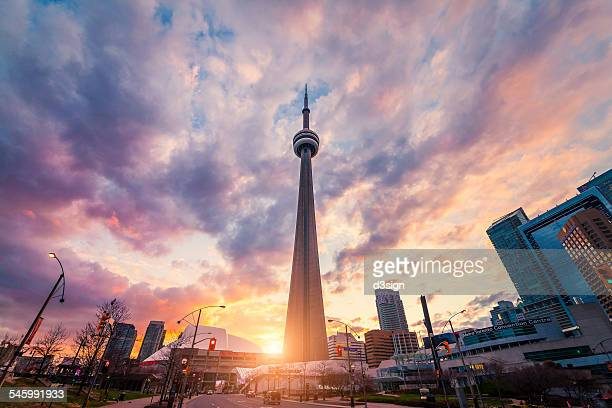 Landmark of Toronto CN Tower alongside cityscape
