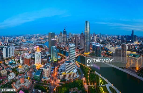 landmark skyline of tianjin city,china