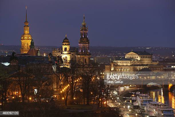 Landmarks in the city center including the Residenzschloss Dresden palace the Catholic Hofkirche church and the Semperoper opera hoause all of which...