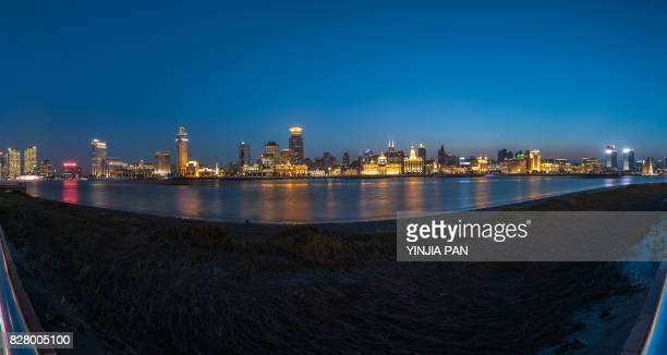 Landmarks of Shanghai at dusk