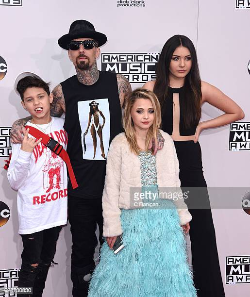 Landon Asher Barker recording artist Travis Barker Alabama Luella Barker and Atiana de la Hoya attend the 2016 American Music Awards at Microsoft...