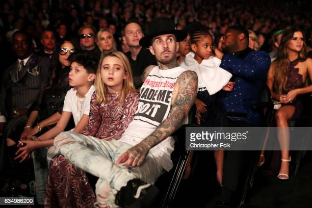 Landon Barker Alabama Barker and musician Travis Barker of Blink182 during The 59th GRAMMY Awards at STAPLES Center on February 12 2017 in Los...