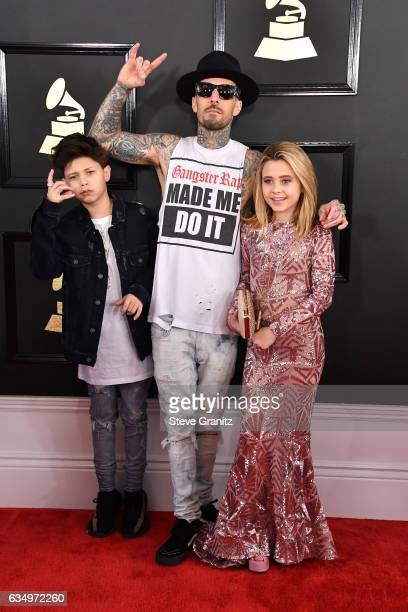 Landon Barker musician Travis Barker and Alabama Barker attend The 59th GRAMMY Awards at STAPLES Center on February 12 2017 in Los Angeles California