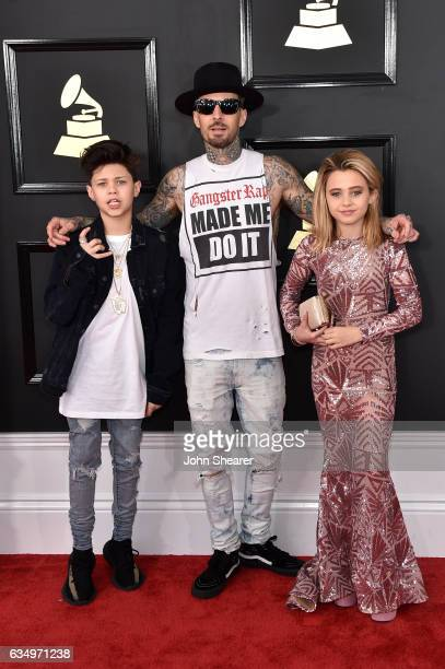 Landon Barker recording artist Travis Barker of music group blink182 and Alabama Barker attend The 59th GRAMMY Awards at STAPLES Center on February...