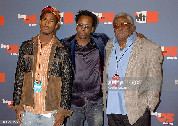 Landon Brown Bobby Brown and dad during VH1 Big in '05 Arrivals at Sony Studios in Culver City California United States