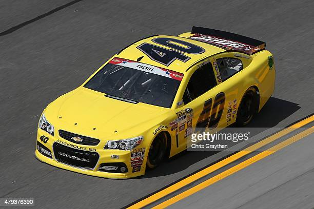 Landon Cassill driver of the Chevrolet practices for the NASCAR Sprint Cup Series Coke Zero 400 at Daytona International Speedway on July 3 2015 in...