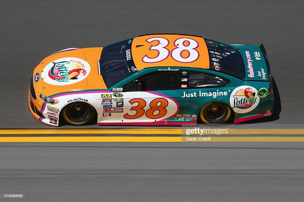 <a gi-track='captionPersonalityLinkClicked' href=/galleries/search?phrase=Landon+Cassill&family=editorial&specificpeople=4421398 ng-click='$event.stopPropagation()'>Landon Cassill</a>, driver of the #38 Florida Lottery Ford, practices for the NASCAR Sprint Cup Series Daytona 500 at Daytona International Speedway on February 13, 2016 in Daytona Beach, Florida.