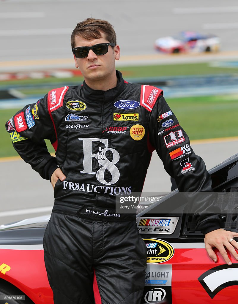 <a gi-track='captionPersonalityLinkClicked' href=/galleries/search?phrase=Landon+Cassill&family=editorial&specificpeople=4421398 ng-click='$event.stopPropagation()'>Landon Cassill</a>, driver of the #38 FR8Auctions Ford, stands on the grid during qualifying for the NASCAR Sprint Cup Series GEICO 500 at Talladega Superspeedway on April 30, 2016 in Talladega, Alabama.