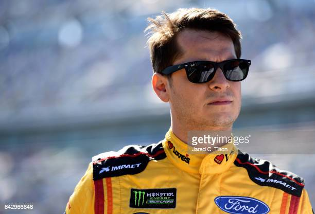 Landon Cassill driver of the Love's Ford during qualifying for the Monster Energy NASCAR Cup Series 59th Annual DAYTONA 500 at Daytona International...