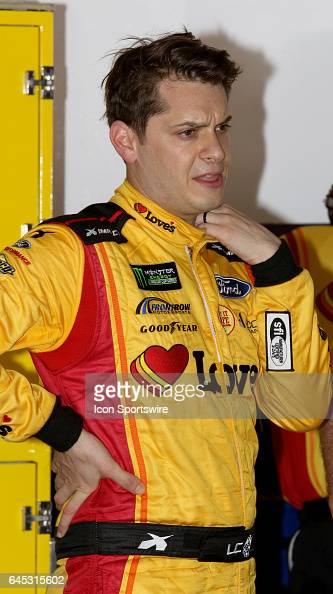 Landon Cassill driver of the Love's Travel Stops Ford during practice for the NASCAR Monster Energy Cup Series Daytona 500 on February 25 at Daytona...