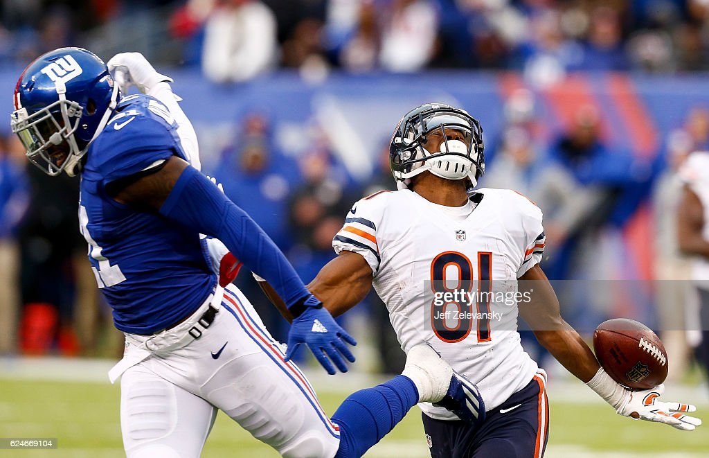 Landon Collins #21 of the New York Giants breaks up a pass intended for Cameron Meredith #81 of the Chicago Bears during their game at MetLife Stadium on November 20, 2016 in East Rutherford, New Jersey.