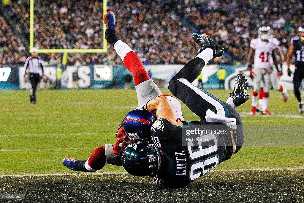 Landon Collins #21 of the New York Giants intercepts the ball away from Zach Ertz #86 of the Philadelphia Eagles during the third quarter at Lincoln Financial Field on October 19, 2015 in Philadelphia, Pennsylvania.