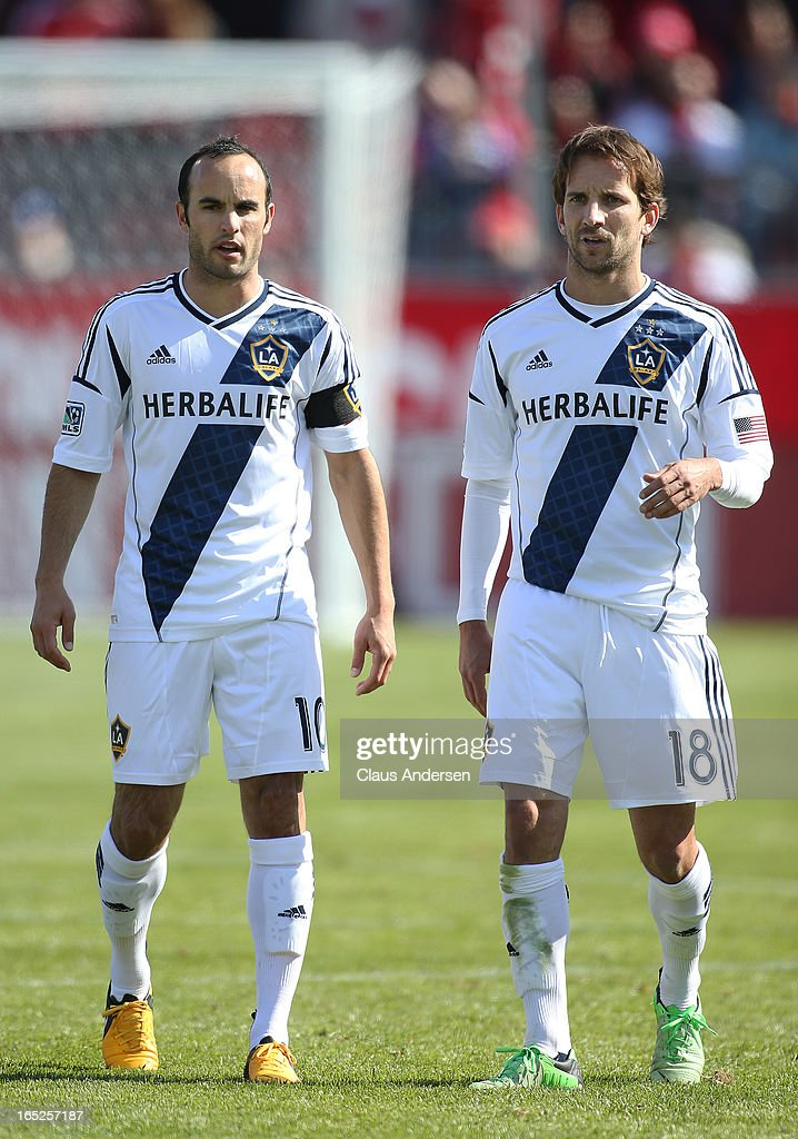 Landon Donovan and Mike Magee of the Los Angeles Galaxy wait for a penalty kick in an MLS game against the Toronto FC on March 30 2013 at BMO field...