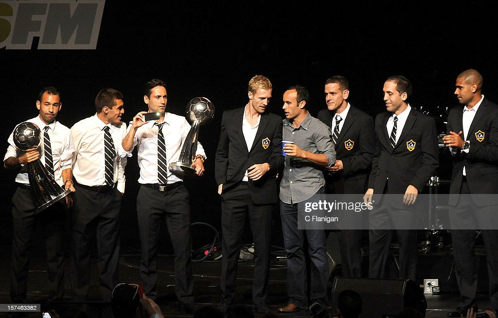 <a gi-track='captionPersonalityLinkClicked' href=/galleries/search?phrase=Landon+Donovan&family=editorial&specificpeople=171601 ng-click='$event.stopPropagation()'>Landon Donovan</a> and the 2012 MLS Cup Winning LA Galaxy take the stage during night 1 of the 2012 KIIS FM Jingle Ball at Nokia Theatre LA Live on December 1, 2012 in Los Angeles, California.