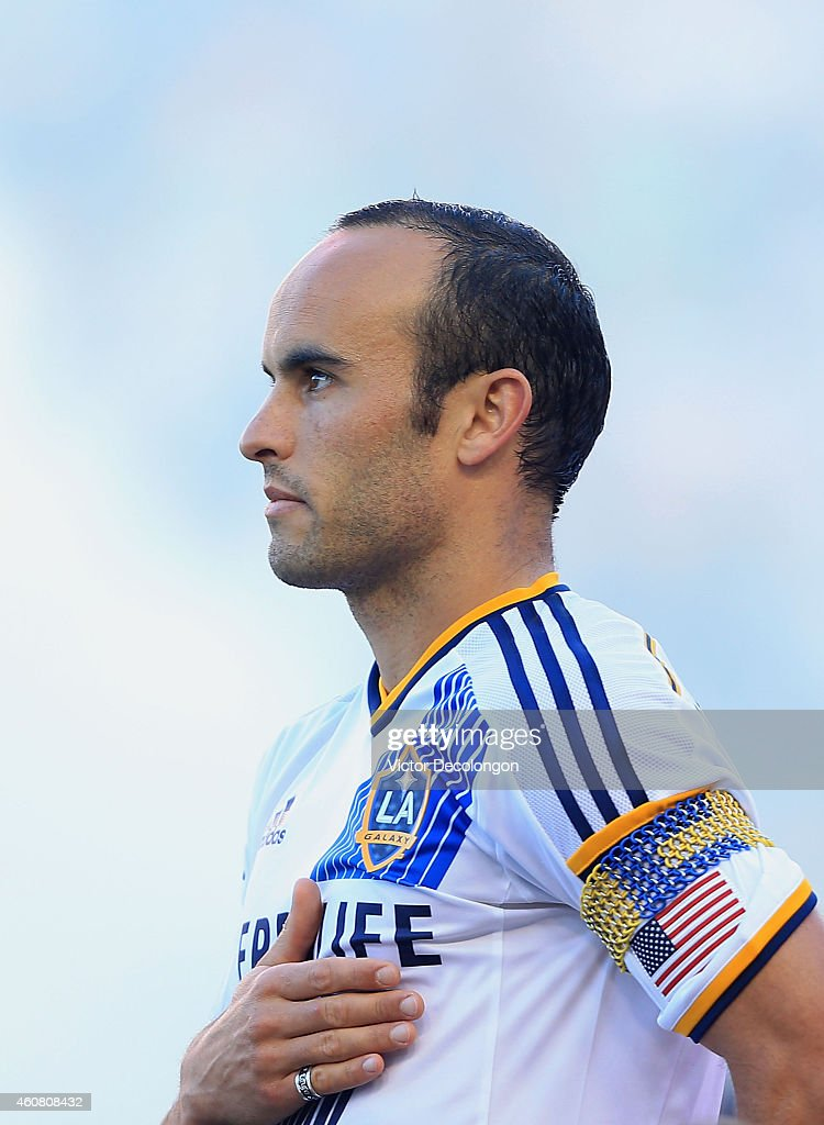 Landon Donovan #10 of Los Angeles Galaxy looks on during the singing of the national anthem prior to the MLS match against the Seattle Sounders FC at StubHub Center on October 19, 2014 in Los Angeles, California. The Sounders and Galaxy played to a 2-2 draw.