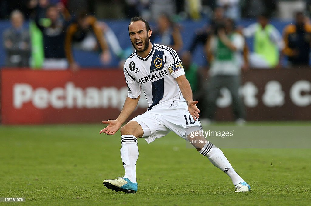 <a gi-track='captionPersonalityLinkClicked' href=/galleries/search?phrase=Landon+Donovan&family=editorial&specificpeople=171601 ng-click='$event.stopPropagation()'>Landon Donovan</a> #10 of Los Angeles Galaxy reacts after scoring on a penalty kick in the second half against the Houston Dynamo in the 2012 MLS Cup at The Home Depot Center on December 1, 2012 in Carson, California.