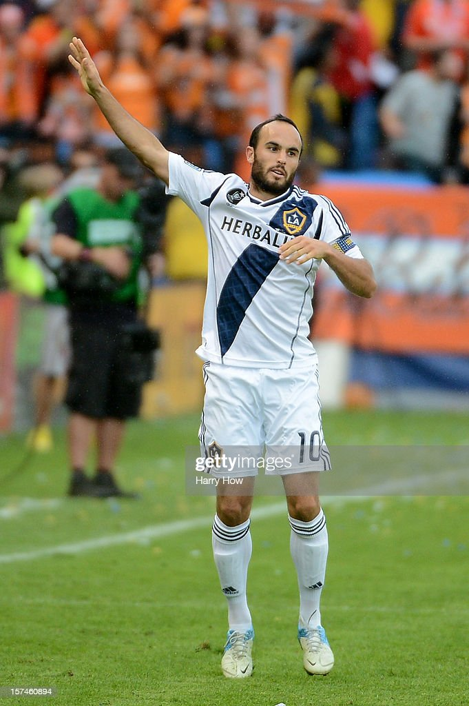 Landon Donovan #10 of Los Angeles Galaxy reacts while taking on the Houston Dynamo in the 2012 MLS Cup at The Home Depot Center on December 1, 2012 in Carson, California.