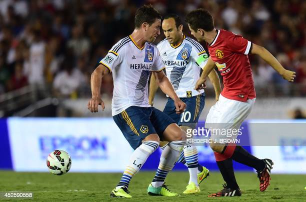Landon Donovan of the LA Galaxy came on as a second half substitute against Manchester United during their Chevrolet Cup match at the Rose Bowl in...