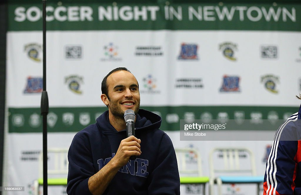<a gi-track='captionPersonalityLinkClicked' href=/galleries/search?phrase=Landon+Donovan&family=editorial&specificpeople=171601 ng-click='$event.stopPropagation()'>Landon Donovan</a> of the LA Galaxy fields questions during Soccer Night In Newtown at Newtown Youth Academy Sports & Fitness Center on January 7, 2013 in Newtown, Connecticut.