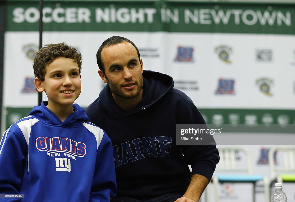 <a gi-track='captionPersonalityLinkClicked' href=/galleries/search?phrase=Landon+Donovan&family=editorial&specificpeople=171601 ng-click='$event.stopPropagation()'>Landon Donovan</a> of the LA Galaxy poses for a photo during Soccer Night In Newtown at Newtown Youth Academy Sports & Fitness Center on January 7, 2013 in Newtown, Connecticut.