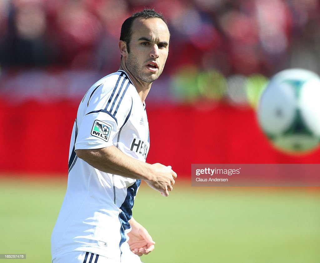 Landon Donovan #10 of the Los Angeles Galaxy plays in an MLS game against the Toronto FC on March 30, 2013 at BMO field in Toronto, Ontario, Canada. The LA Galaxy and the Toronto FC played to a 2-2 tie.