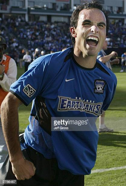 Landon Donovan of the San Jose Earthquakes celebrates after defeating the Chicago Fire 42 in the MLS Cup on November 23 2003 at The Home Depot Center...
