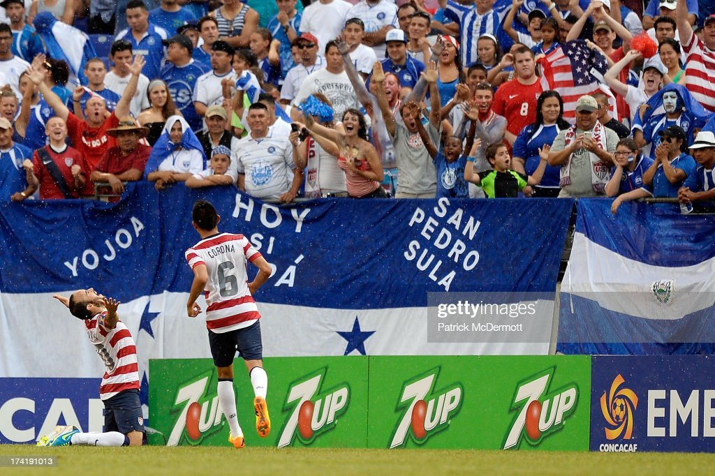 <a gi-track='captionPersonalityLinkClicked' href=/galleries/search?phrase=Landon+Donovan&family=editorial&specificpeople=171601 ng-click='$event.stopPropagation()'>Landon Donovan</a> #10 of the United States celebrates after scoring a goal against El Salvador in the second half during the 2013 CONCACAF Gold Cup quarterfinal game at M&T Bank Stadium on July 21, 2013 in Baltimore, Maryland.
