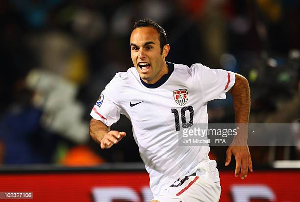 Landon Donovan of the United States celebrates after scoring the winning goal against Algeria during the 2010 FIFA World Cup South Africa Group C...