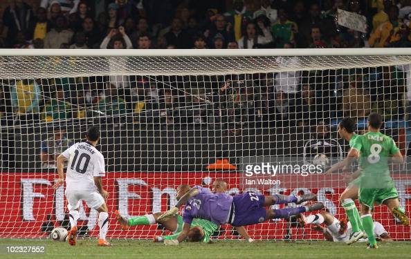 Landon Donovan of the United States scoring the winning goal that sends the USA through to the second round during the 2010 FIFA World Cup South...
