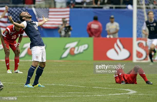 Landon Donovan of the US celebrates after the US defeated Panama 10 in the CONCACAF Gold Cup final on July 28 2013 at Soldier Field in Chicago AFP...