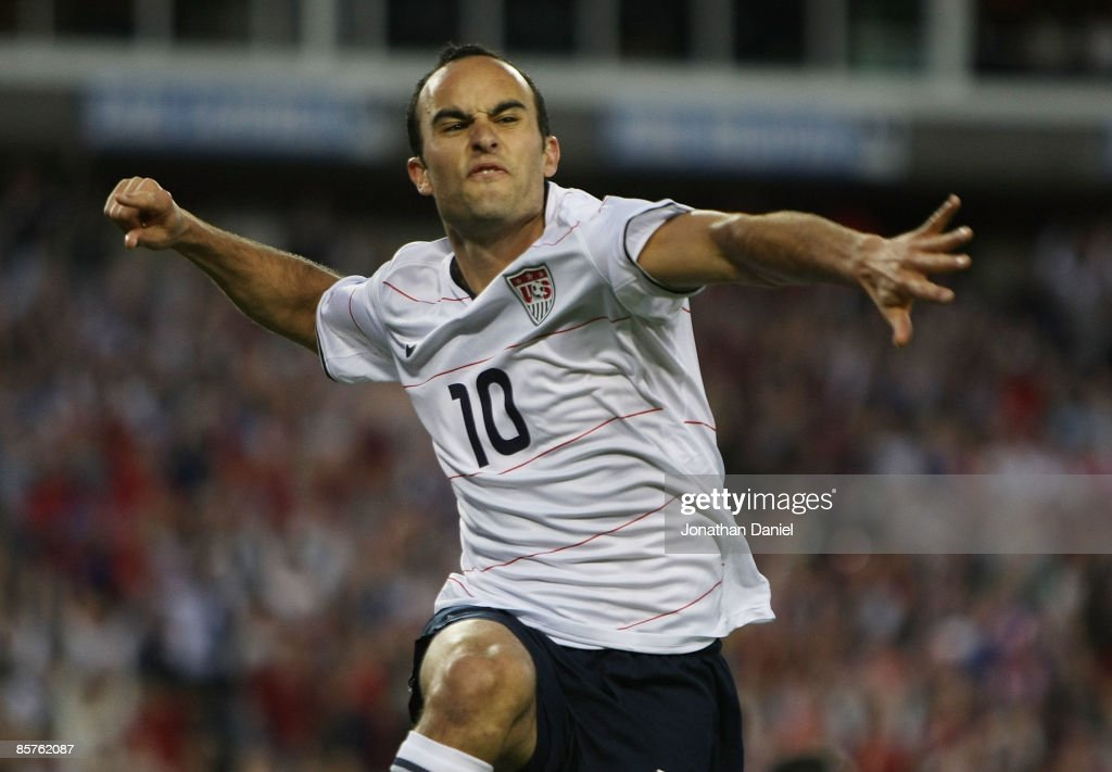 <a gi-track='captionPersonalityLinkClicked' href=/galleries/search?phrase=Landon+Donovan&family=editorial&specificpeople=171601 ng-click='$event.stopPropagation()'>Landon Donovan</a> #10 of the U.S. celebrates an assist on a goal by teammate Jozy Altidore in action against Trinidad and Tobago during a FIFA 2010 World Cup Qualifying match on April 1, 2009 at LP Field in Nashville, Tennessee.