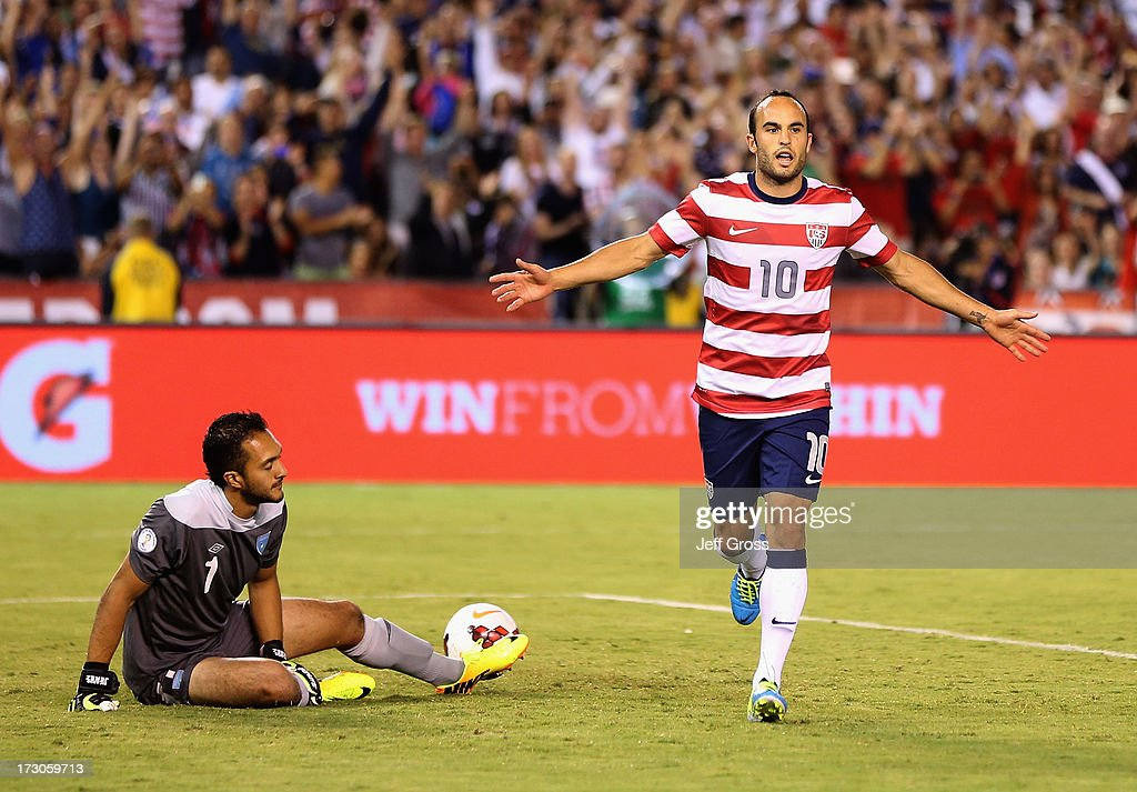<a gi-track='captionPersonalityLinkClicked' href=/galleries/search?phrase=Landon+Donovan&family=editorial&specificpeople=171601 ng-click='$event.stopPropagation()'>Landon Donovan</a> #10 of the USA celebrates after converting a penalty kick, as goalkeeper Ricardo Jerez #1 of Guatemala looks on in the second half at Qualcomm Stadium on July 5, 2013 in San Diego, California.