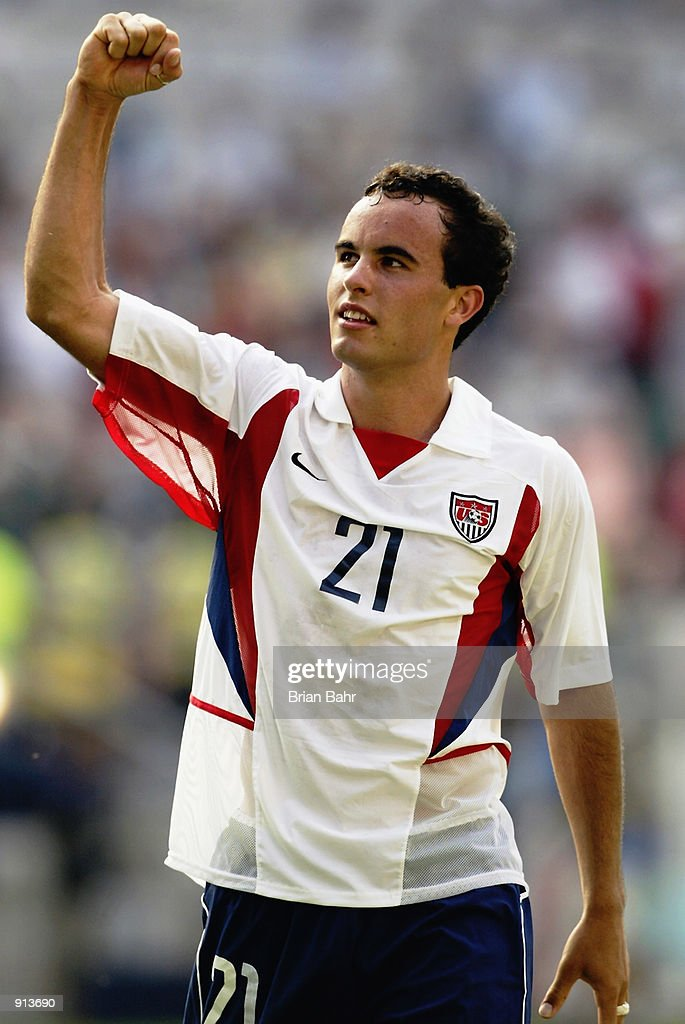 <a gi-track='captionPersonalityLinkClicked' href=/galleries/search?phrase=Landon+Donovan&family=editorial&specificpeople=171601 ng-click='$event.stopPropagation()'>Landon Donovan</a> of the USA celebrates after the Mexico v USA, World Cup Second Round match played at the Jeonju World Cup Stadium, Jeonju, South Korea on June 17, 2002. The USA won 2-0.