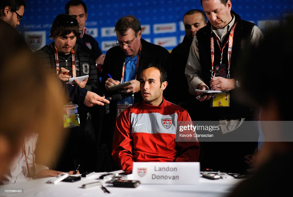 Landon Donovan of US national football team speaks during a news conference at Irene Fram on June 15, 2010 in Irene near Pretoria, South Africa. US will play their next World Cup Group C match against Slovenia on Friday June 18, 2010.