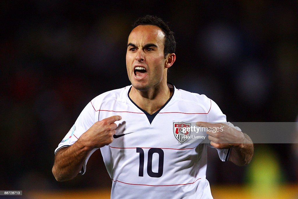 <a gi-track='captionPersonalityLinkClicked' href=/galleries/search?phrase=Landon+Donovan&family=editorial&specificpeople=171601 ng-click='$event.stopPropagation()'>Landon Donovan</a> of USA celebrates scoring his team's second goal during the FIFA Confederations Cup Final between USA and Brazil at the Ellis Park Stadium on June 28, 2009 in Johannesburg, South Africa.